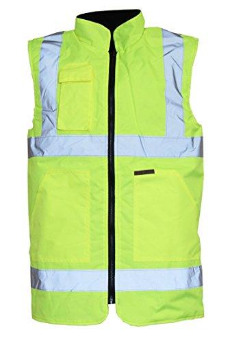 Fast Fashion - Hi Est Haut Viz Le Corps Travaux De Sécurité De La Visibilité en Polaire Réversible Warmers Gilets (4XL, Jauné)