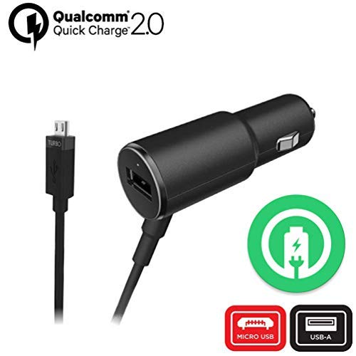 ACCE Turbo Fast 25W Car Charger Works for Samsung SM-R150NZBAXAR with Extra USB Port and Long Hi-Power MicroUSB Cable!