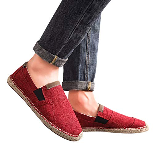 Men's Breathable Canvas Shoes, Casual Sewing Slip On Driving Boat Shoes Flat Loafers Straw Sandals Shoes US Size 7-10 (Red, US:9)