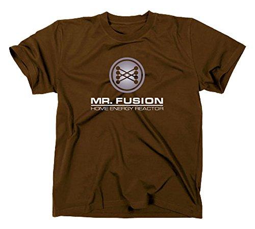 Mr Fusion T-Shirt Flux Kompensator Back to The Future Zurück in die Zukunft, L, braun