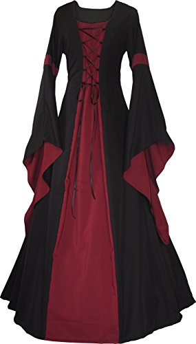 Dornbluth Damen Mittelalterkleid Johanna Night (XL, Schwarz-Bordeaux)