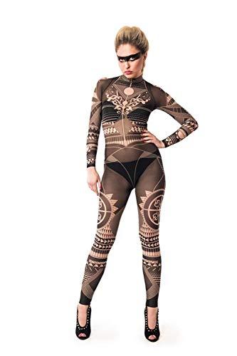 HTABY Sexy Frauen-Schwarz-Stammes- Tätowierung Ganzkörper-Catsuit, Festival Kleidung, Party Catsuit, Orientalische Kleidung, Stammes- Entwurf, Mesh-Catsuit, Fake Tattoo-Kostüm,Schwarz,M