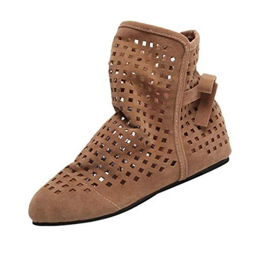VJGOAL Damen Stiefel, Damen Mode Hohl Flache Low Versteckt Wedges Cutout Slip On Schuhe Casual Niedlichen Ankle Herbstliche Stiefel (Braun, 40)