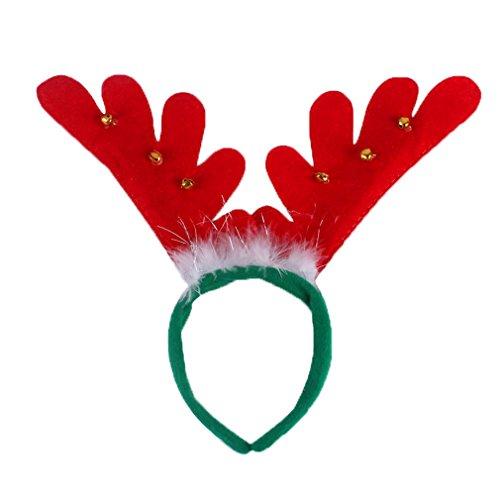 Bigood Noël Accessoire Serre-Tête Corne de Cerf Mascarade Coiffure Duvet