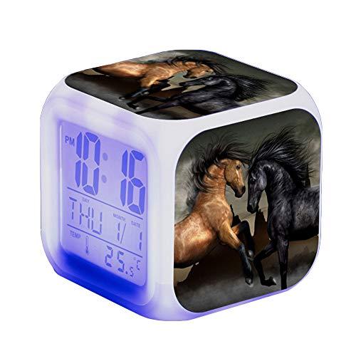 Wecker Pferde Tier Alarm Kinder Beleuchteter LED Night Glowing Wecker mit Licht Aufwachen Geburtstagsgeschenke für Erwachsene (A)