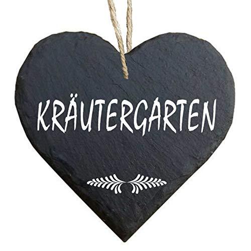 Homeyourself Herz Schieferherz Schiefer Schieferschild 10 x 10 cm Kräutergarten schwarz Dekoschild Wandschild Schild Stein Garten