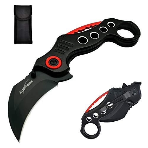 ALBATROSS EDC Cool Spring Assisted Folding Pocket Knives Tactical Sharp Raptor Claw Knife (Black)