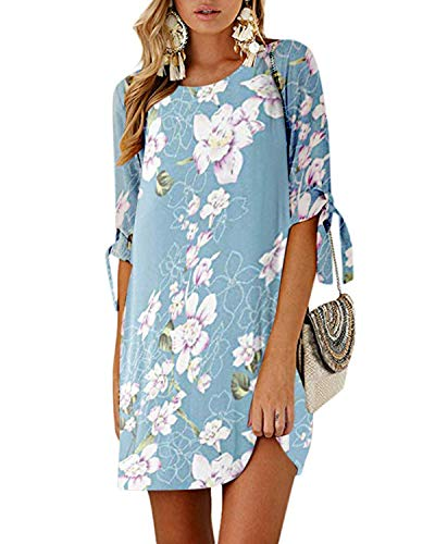 Kidsform Sommerkleid Damen Casual Langes T-Shirt Kleid Lose Tunika Kurzarm Rundhals Minikleid mit Bowknot Ärmeln, M=EU38, Blume