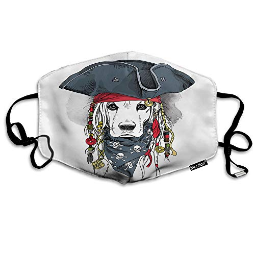 F Hond Masker Koel Dier Cocker Spaniel Puppy In Piraat Hoed Bandanna Dreadlocks Mond Masker Unisex Maskers Herbruikbaar Wasbaar Polyester Anti-Stof Masker voor Mannen Vrouwen Buiten