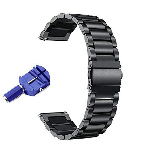 KOMI Correa de repuesto de acero inoxidable de 18/20/22 mm, de liberación rápida de metal (20 mm, negro)