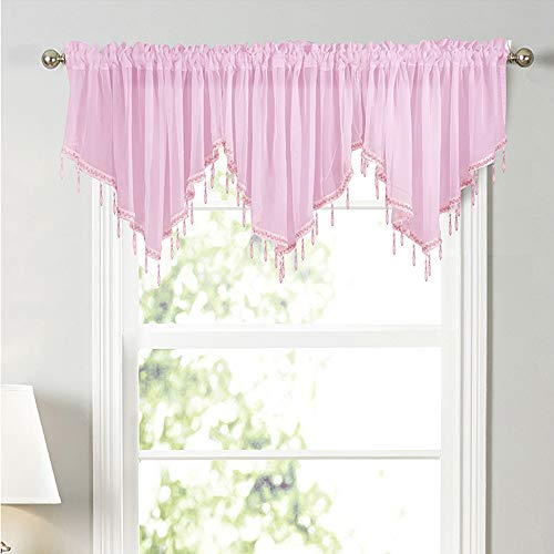 White Sheer Tulle Beaded Valance Curtains 2 Pieces Kitchen Cafe Rod Pocket Swag Window Curtain Valances with Bead Trim for Bedroom Bathroom Nursery Living Room, 51 x 24 Inch Length (Pink)