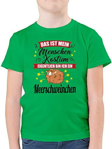 Karneval & Fasching Kinder - Das ist Mein Menschen Kostüm Eigentlich Bin ich EIN Meerschweinchen - schwarz - 164 (14/15 Jahre) - Grün - Junge 11 Jahre - F130K - Kinder Tshirts und T-Shirt für
