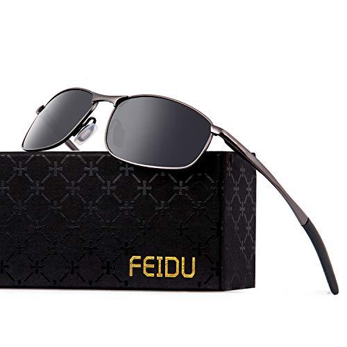 FEIDU Polarized Sport Mens Sunglasses HD Lens Metal Frame Driving Shades FD 9005 (A-black/gun-9005, 2.24)