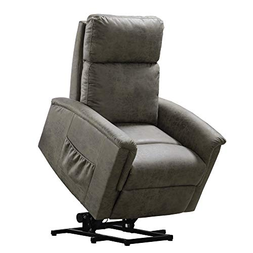 Power Lift Recliner Chair, Single Soft Fabric Lift Chair with Storage Bag, Gray