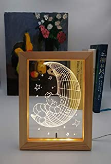 Kevmiya Teddy Bear Lamp with LED Picture, 9X6.7 Inches, Night Lamp and Decor for Sleeping Lighting, Gifts for Kids(Moon)