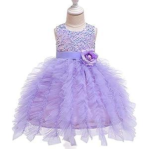 子供のウェディングパーティードレス 女子ドレススパンコール子供ドレスフラワーガールドレスメッシュ付きの花のためにガール パーティーボールガウン (Color : Purple, Size : 90cm)