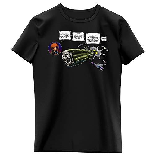 Okiwoki T-Shirt Enfant Fille Noir Parodie Albator - L'Arcadia - Zone de Turbulences ! (T-Shirt Enfant de qualité Premium de Taille 5-6 Ans - imprimé en France)