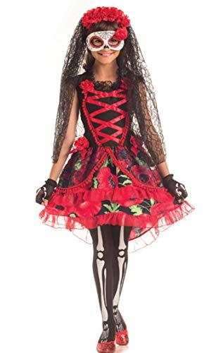 """Disfraz de 3 piezas para niñas con texto en inglés """"Dead Bride Day of the Dead Bride + Medias para Halloween"""