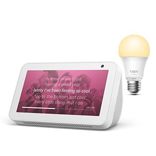Echo Show 5, Weiß + TP-Link Tapo smart Lampe (E27), Funktionert mit Alexa