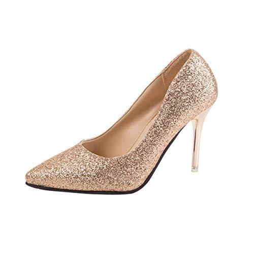 DEBAIJIA Mujer Tacones Altos Lentejuelas 10CM Zapatos de Tacón Brillante Boda Fiesta 35.5 EU Gold (Tamaño Etiqueta-35)