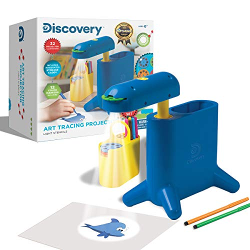 Discovery Kids Art Tracing Projector Kit for Kids, 32 Stencils and 12 Markers Included, Easy Portable Learn to Draw Sketch Machine