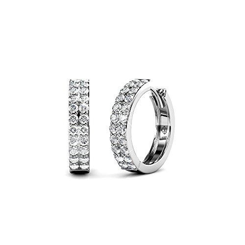 Cate & Chloe Alice Graceful 18k White Gold Plated Hoop Earrings w/Swarovski Crystals, Beautiful Classic Round Cut Diamond Crystal Cluster Silver Fashion Hoops Earring Set - Hypoallergenic