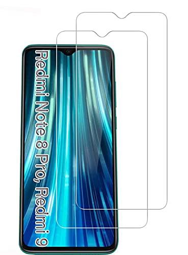 UNO' Protector pantalla cristal templado 2 Unidades compatible con Xiaomi Redmi Note 8 Pro, Redmi 9, Vidrio Templado Ultra Resistent Sin Burbujas, 9H, Antiarañazos.