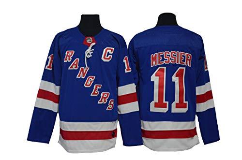 Gmjay Mark Messier # 11 Hockey New York Rangers Hockey Blau Genähte Buchstaben Zahlen NHL Hockey Trikots,Blue,XXL