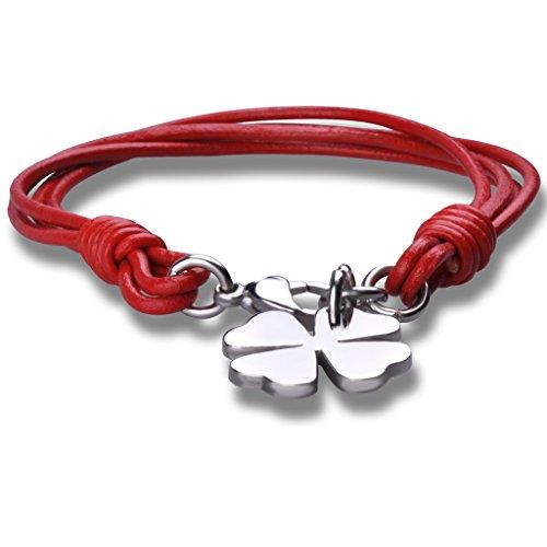 Stayoung Jewellery Moda Unisex Acero Inoxidable Cuero Trenzado Pulsera Brazalete Trébol de cuatro hojas, Rojo