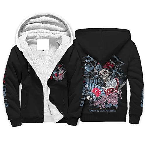Sudadera con capucha para hombre, diseño japonés de Geisha, calavera Tokyo con impresión nocturna, forro polar, con bolsillos blanco XL