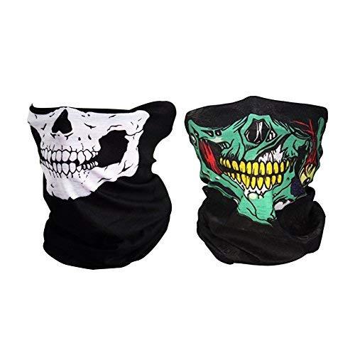 Mangotree 2 Stück Premium Sturmmaske Totenkopf Skull Maske Multifunktionstuch Schlauch Nahtlos Schädel Sturmmaske Ghost für Motorrad Fahrrad Ski Paintball Gamer Karneval Kostüm