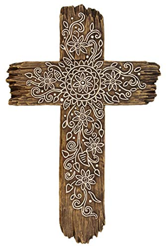 DeLeon Collections Ornate Flower Wall Cross - Rustic Driftwood Look Decorative Spiritual Art Sculpture