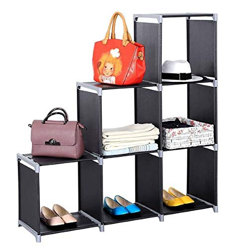 MARSPOWER 6 Cube Storage Shelves, Assembled Cube Bookcase Multifunctional Assembled 2 Tiers 6 Compartments Storage Organizer Cubes in Living Room, Bedroom (Black)
