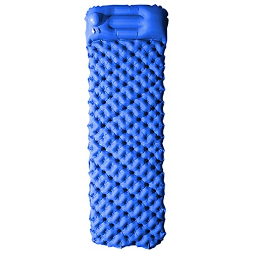 Esterilla Inflable Camping, Esterillas Autoinflables, Ultraligera Esterilla Acampada Camping, Colchones De Aire con Almohada Impermeable (Azul)