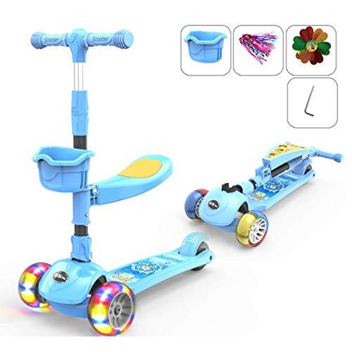 SJYDQ 2 in 1 Scooter Kinder Kick, 3 Räder Walker mit entfernbarer Sitz und Rückenlehne, LED leuchten Räder for Kinder 2-10 Jahre alt (Color : Blue)