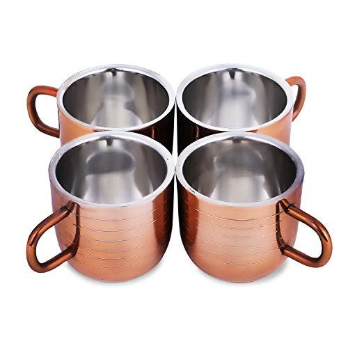 Zap Impex Juego de 4 tazas de café de acero inoxidable con revestimiento de cobre, 80 ml