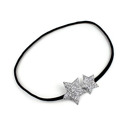 rougecaramel - Accessoires cheveux - Headband bandeau étoile paillettes - argenté
