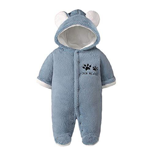 Baby Strampler Winter Outfits Mit Kapuze Schneeanzug Jungen Mädchen Overall Lange Ärmel Babykleidung Pyjama Spielanzug Geschenk 6-9 Monate,Blau