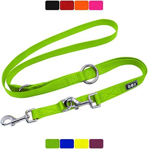 DDOXX Hundeleine Nylon, 3fach verstellbar | viele Farben & Größen | für kleine & große Hunde | Doppel-Leine Hund Katze Welpe | Schlepp-Leine groß | Führ-Leine klein | Lauf-Leine | L, Grün, 2m