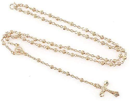 Zaaqio Collar de Rosario de Cuentas de Rosas pequeñas de 4 mm con Caja, encantos religiosos católicos para mí, Cuentas de oración de joyería