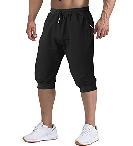 TACVASEN Running Shorts Mens Three Quarter Cotton Training Long Below Knee Shorts Black