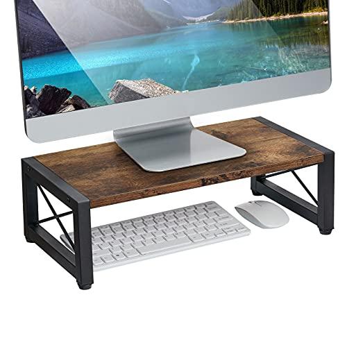 Giikin Vintage Wood Monitor Stand Riser, 17.7 Inch Desktop Shelf Storage Organizer, Ergonomic Desk & Tabletop Organizer Desktop Stand for Laptop, Computer, MacBook, Notebook, PC(Dark Brown)