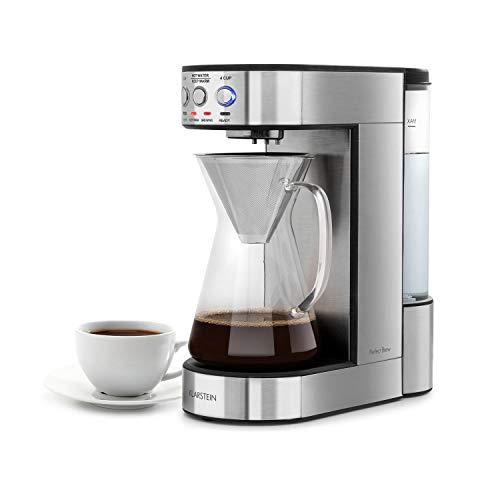 Klarstein Perfect Brew cafetera de filtro con cabezal giratorio - Máquina de café, 1800W, 1,8L, Control digital, Conserva el calor, Jarra de vidrio, Acero, Plateado