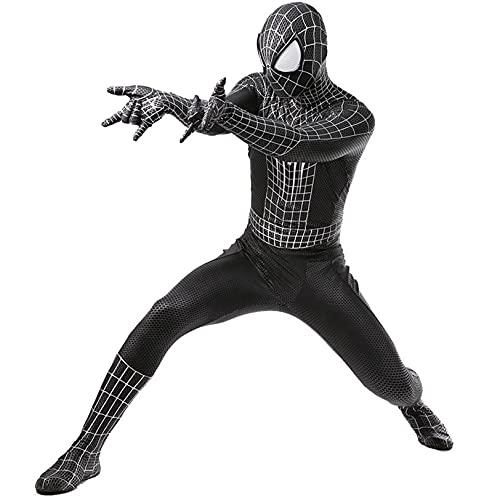 LGYCB Black Spiderman Disfraces Venom Symbiote Fancy Dress Up Body Spider-Man Superhero Party Party Body Fans Muelos Muellos Cosplay Medias,Bodysuit-Kids S(115~125cm)