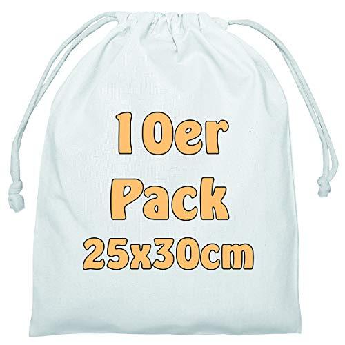 Cottonbagjoe Baumwollbeutel Stoffbeutel mit Kordelzug Lunchsack Kosmetikbeutel Sockenbeutel Schmucksäckchen Spielzeugtäschchen für Kleinigkeiten 25x30cm (weiß, 10 Stück)