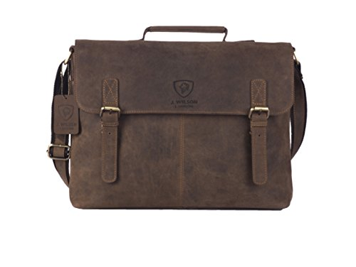 J WILSON London - Designer Genuine Real Distressed Vintage Hunter Leather 15' Laptop Handmade Unisex Crossover Shoulder Messenger Briefcase Bag (Brown)