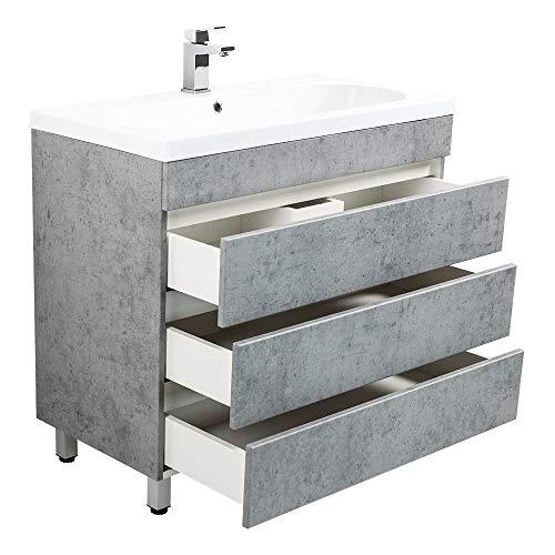 Lomadox Badezimmer Stand-Waschtisch Set mit Unterschrank in Beton Optik B/H/T 91/90/47cm