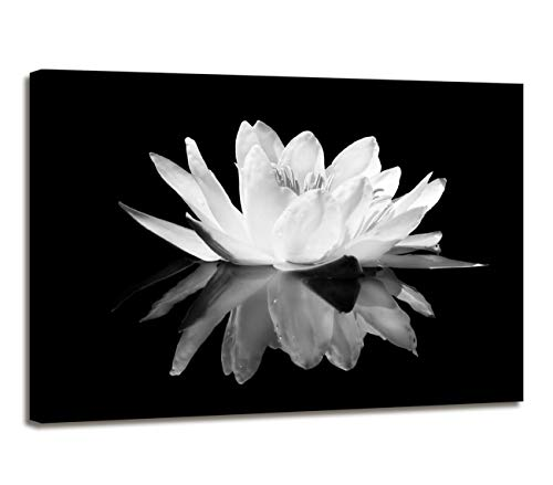 Maectpo Flower Canvas Prints Art for Bedroom Lotus Flower Pictures Prints Black and White Floral Bloom Blossom Close Up Pictures Prints on Canvas Wall Decoration for Bedroom Framed