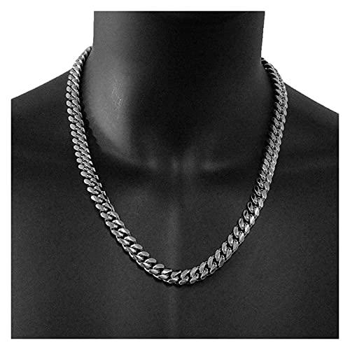JIAQ Hombre Hip Hop Cadenas Collares Acero Inoxidable Nunca Desvanecimiento Rapper 10 Mm Ancho Cuba Cadena Collar Hiphop Regalo De Joyería (Length : 16inch(40cm), Metal Color : Silver Plated)