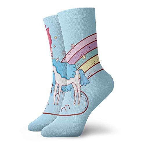Jhonangel Sirena con unicornio y arcoiris en nubes Divertidos calcetines deportivos Calcetines deportivos antideslizantes para barcos 30 cm / 11.8 pulgadas